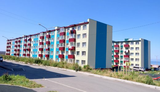 ホルムスクのカラフルな団地
