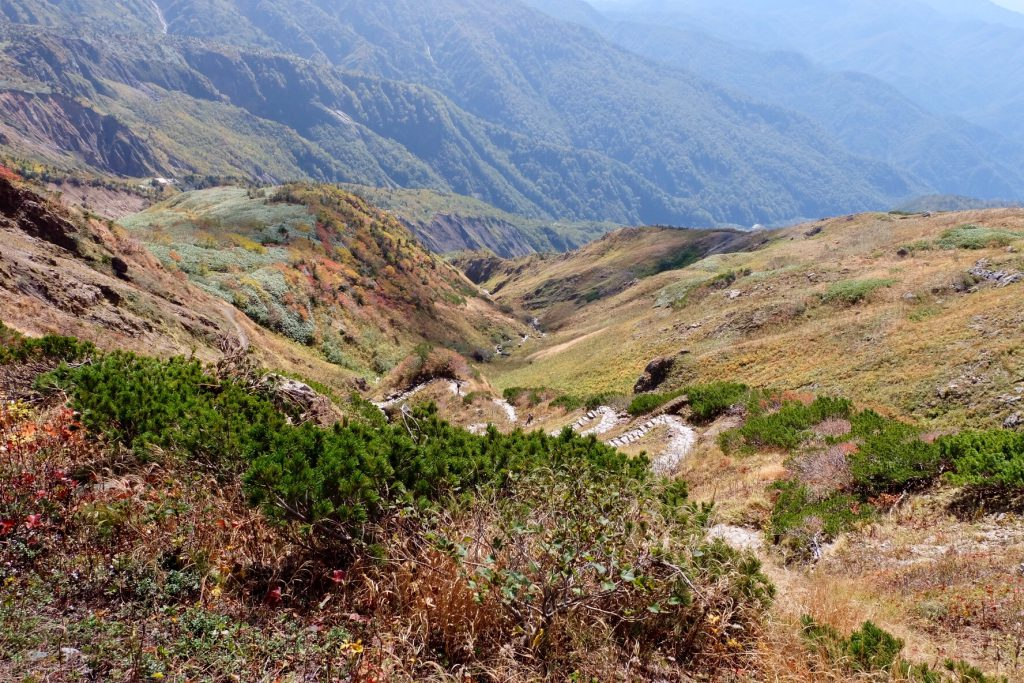 白山登山中の風景
