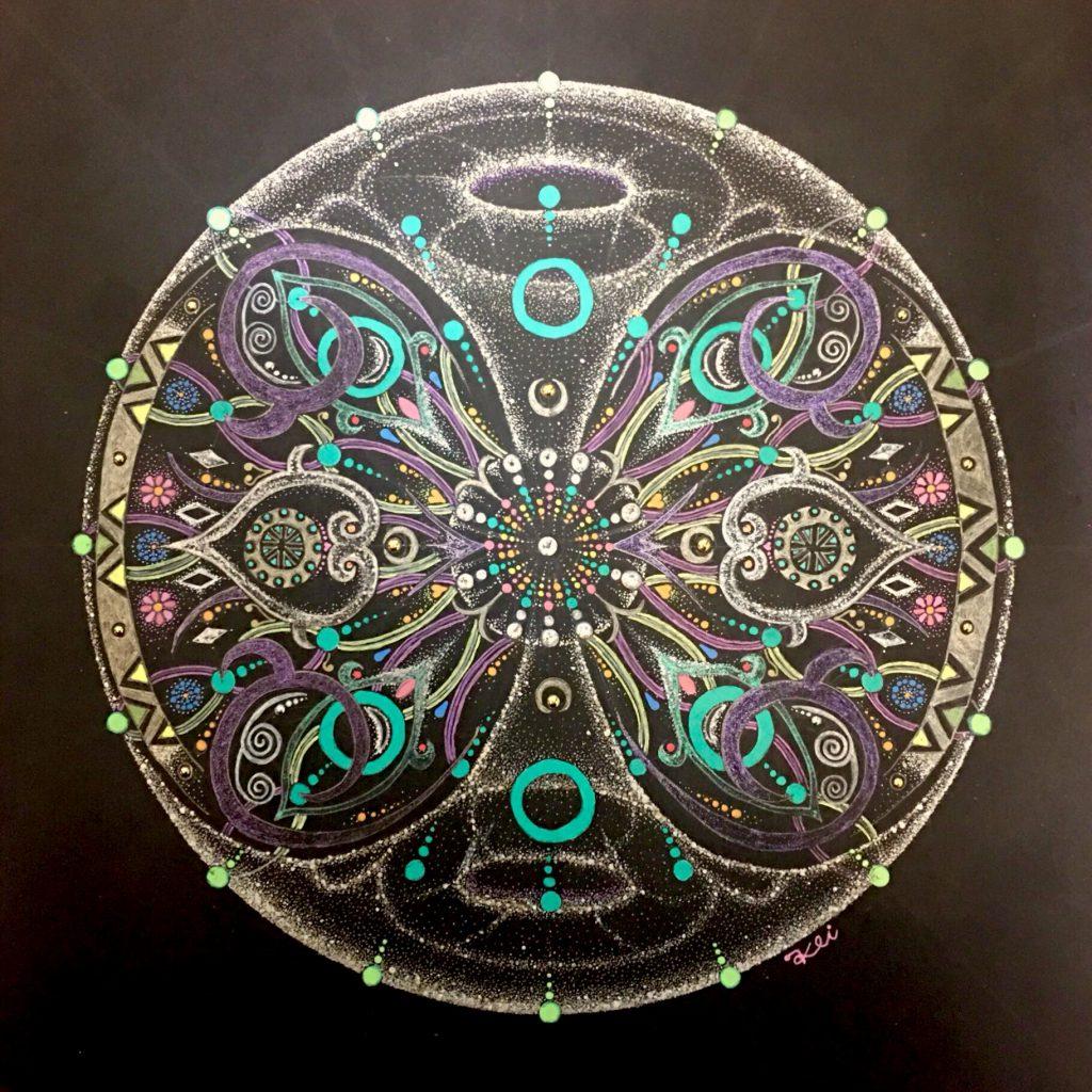 曼荼羅アート作品-宇宙と二人