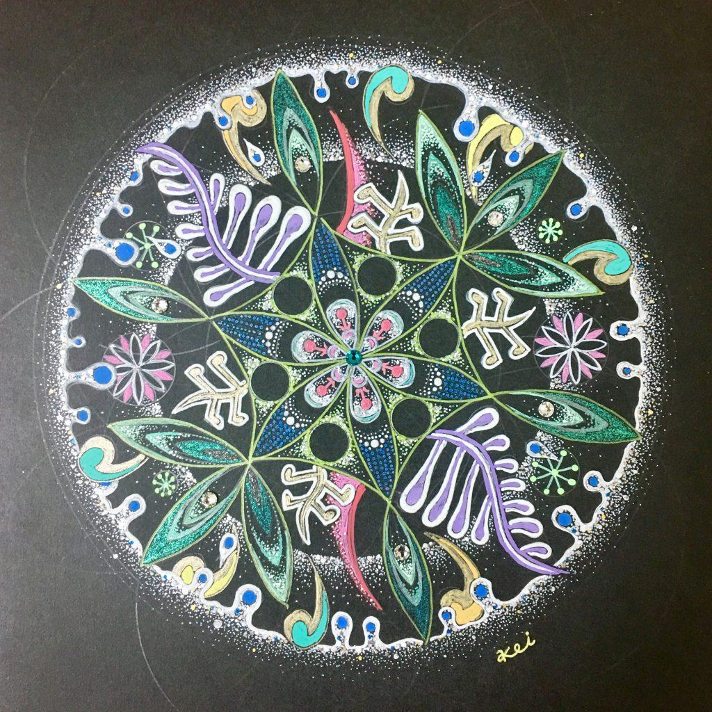 曼荼羅アート作品-緑の星